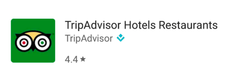 Screenshot: TripAdvisor Google Play app search result listing showing a clunky title, where the brand name leaves room for only two additional words  with no punctuation