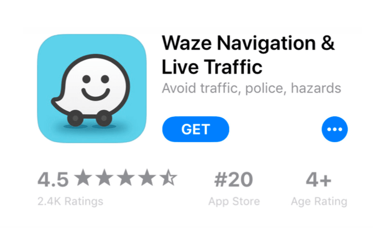 Screenshot Waze App Store product page showing some well-placed keywords in the title