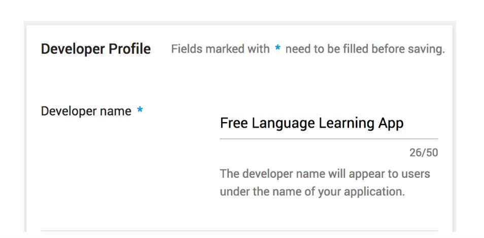 Screenshot: Developer name editing view in Google Play