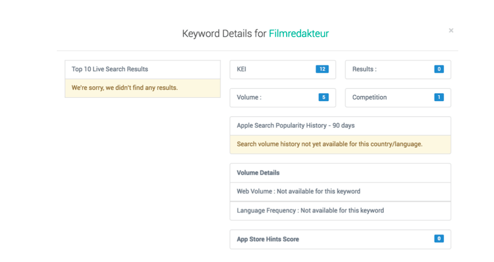 Screenshot showing how Apptweak displays that there are no results for Filmredakteur in Germany