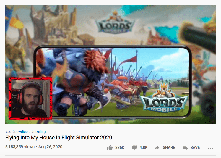 PewDiePie doing a sponsored video for Lords Mobile (IGG)