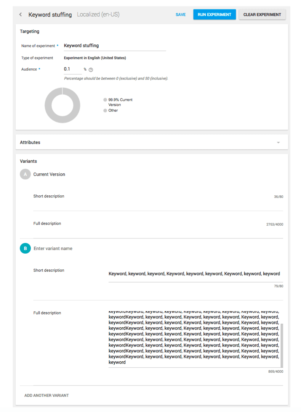 Screenshot depicting a black hat A/B test purposed for keyword stuffing. Only 1 in 1.000 Store Listing Visitors would see the keyword stuffed variant.