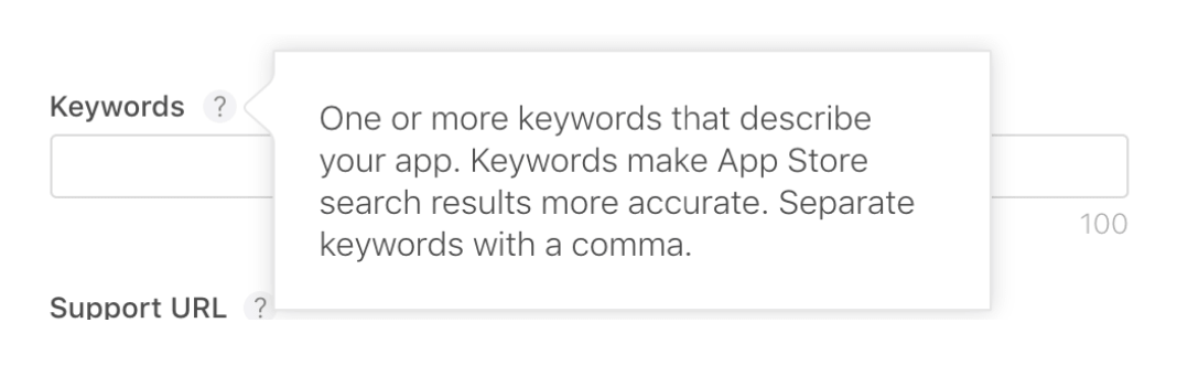 Screenshot: the keywords field in iTunes Connect