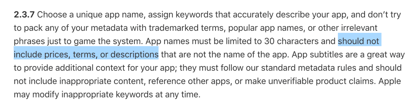 Screenshot: Section 2.3.7 of the App Store Guidelines