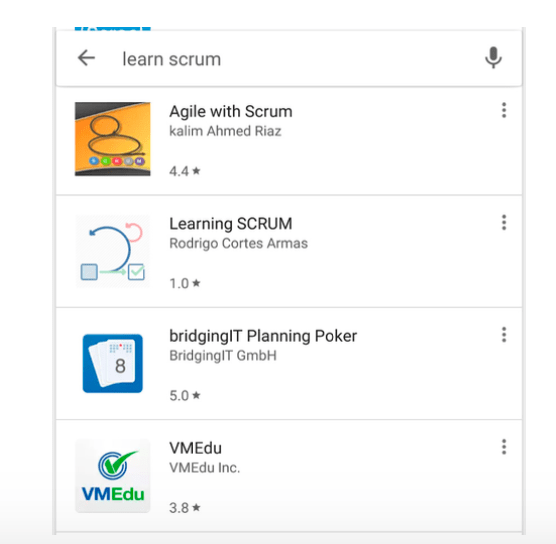 Screenshot of a Google keyword search. While the first three titles show a relation to scrum, the fourth title has no relevance.