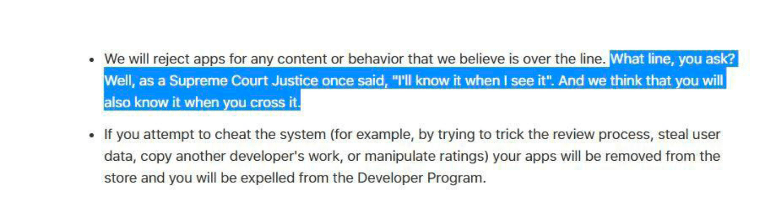 Excerpt from Apple's developer review guidelines