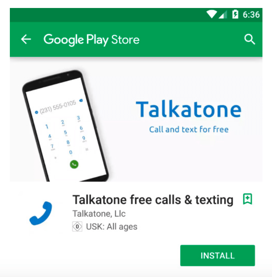 "Talkatone overlaying ""Call and text for free"" in their feature graphic in the Google Play Store."