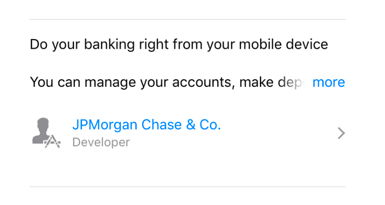 Chase using an ease of use messaging in its description