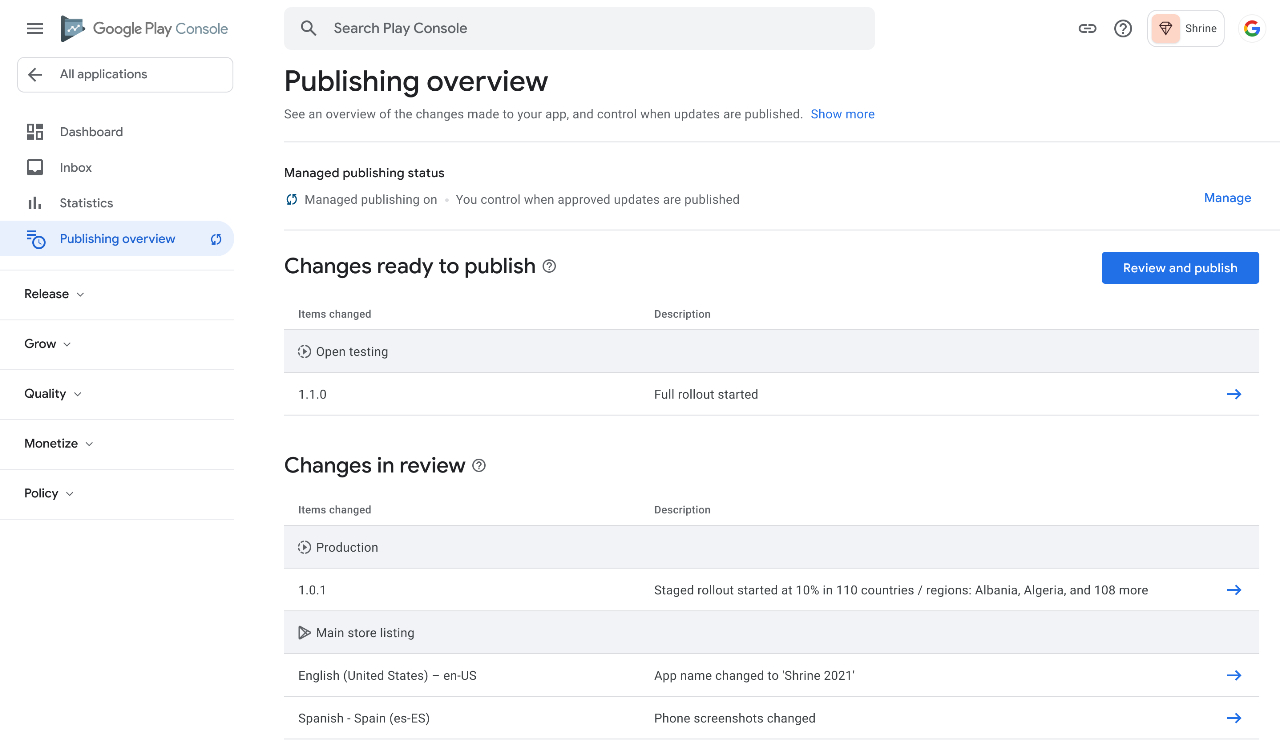 google play console publishing overview