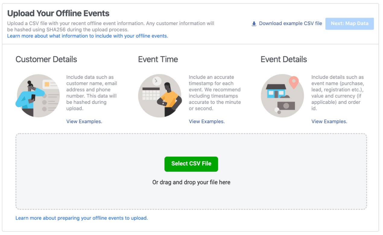 FB offline event upload: manual via .csv file upload