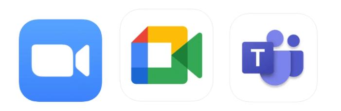 Zoom, Google Meet, Microsoft Teams logos