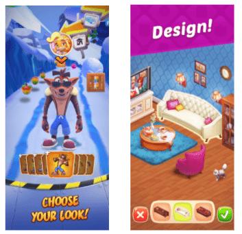 Crash Bandicoot and Homescapes